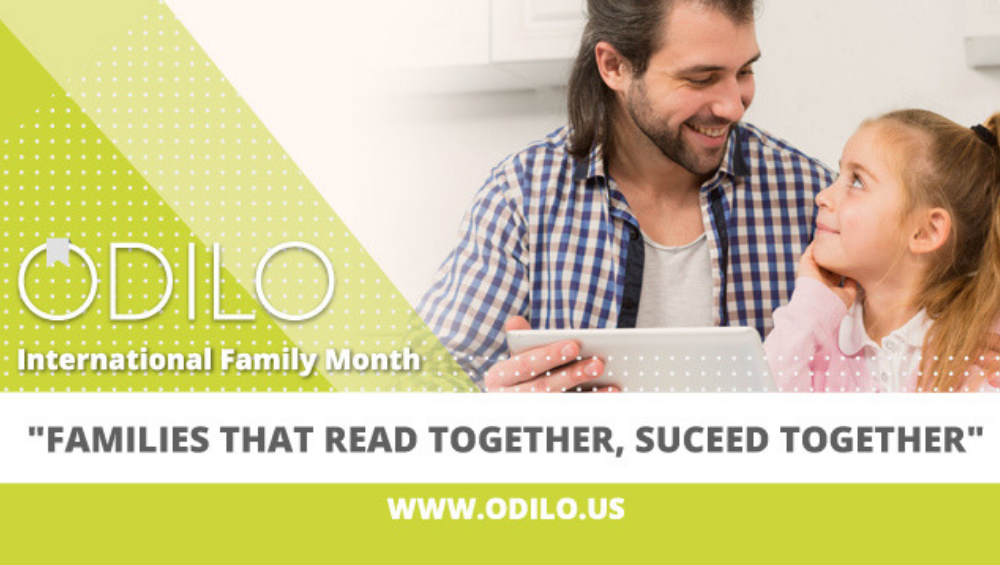 family reading with ODILO